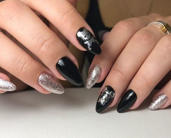 черный гель-лак серебрянный глиттер