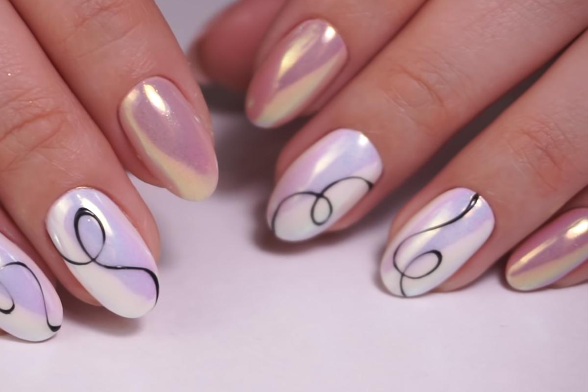 Дизайн ногтей с жемчужной втиркой. Бюджетные гель-лаки ...