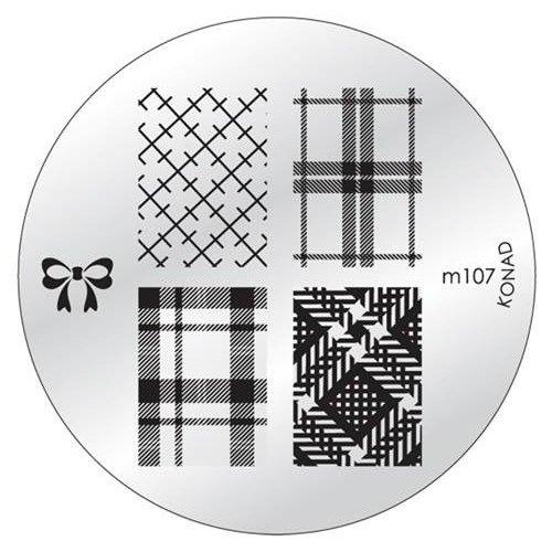 Konad, диск для стемпинга М107Диски для стемпинга Konad<br>5 видов изображений, с помощью которых вы сможете создать великолепные рисунки на ногтях, которые очень сложно создать вручную.<br>