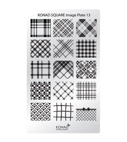 Konad, диск для стемпинга Square Image Plate 13Диски для стемпинга Konad<br>15 видов изображений, с помощью которых вы сможете создать великолепные рисунки на ногтях, которые очень сложно создать вручную.<br>