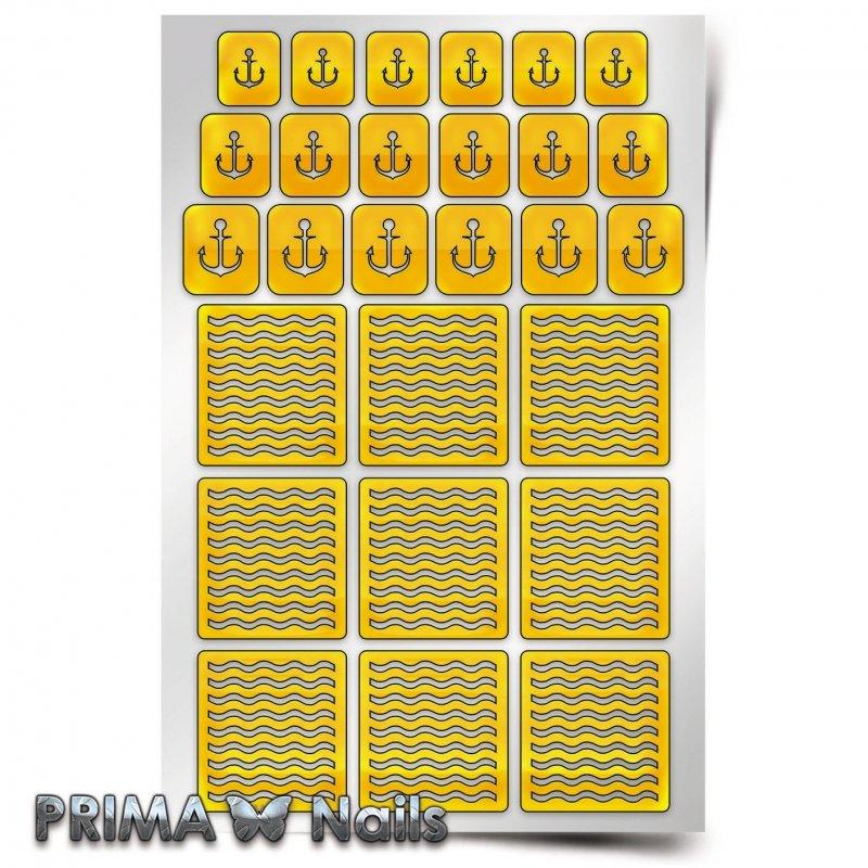 PrimaNails, Трафарет для дизайна ногтей - Морской миксPrimaNails<br>Самоклеющиеся трафареты<br>