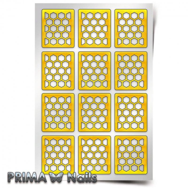 PrimaNails, Трафарет для дизайна ногтей - Принт «Пчелиные соты»PrimaNails<br>Самоклеющиеся трафареты<br>