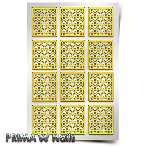 PrimaNails, Трафарет для дизайна ногтей - Принт Сердца 3PrimaNails<br>Самоклеющиеся трафареты<br>