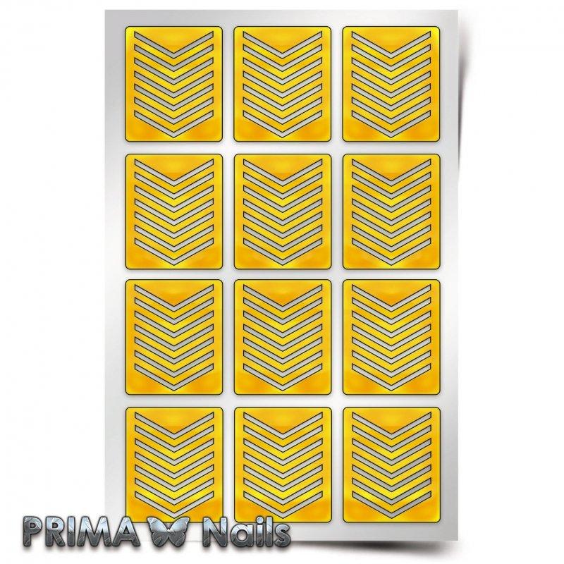 PrimaNails, Трафарет для дизайна ногтей - Принт Шевроны средниеPrimaNails<br>Самоклеющиеся трафареты<br>