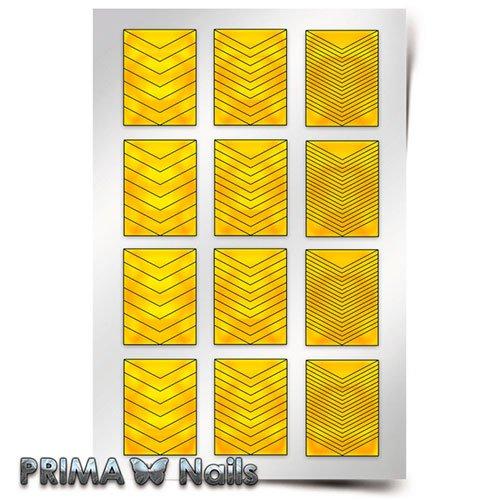 PrimaNails, Трафарет для дизайна ногтей - ШевроныPrimaNails<br>Самоклеющиеся трафареты<br>
