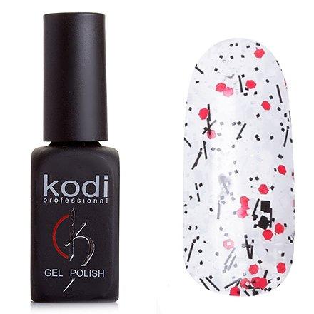Kodi, Гель-лак № 508 (8ml)Kodi Professional <br>Гель-лак прозрачный, конетти черное, белое и красный, 8мл.<br>