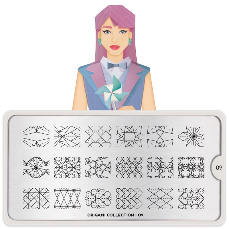 MoYou London, Пластина для стемпинга Origami 09Пластины для стемпинга MoYou London<br>Коллекция Origami<br>