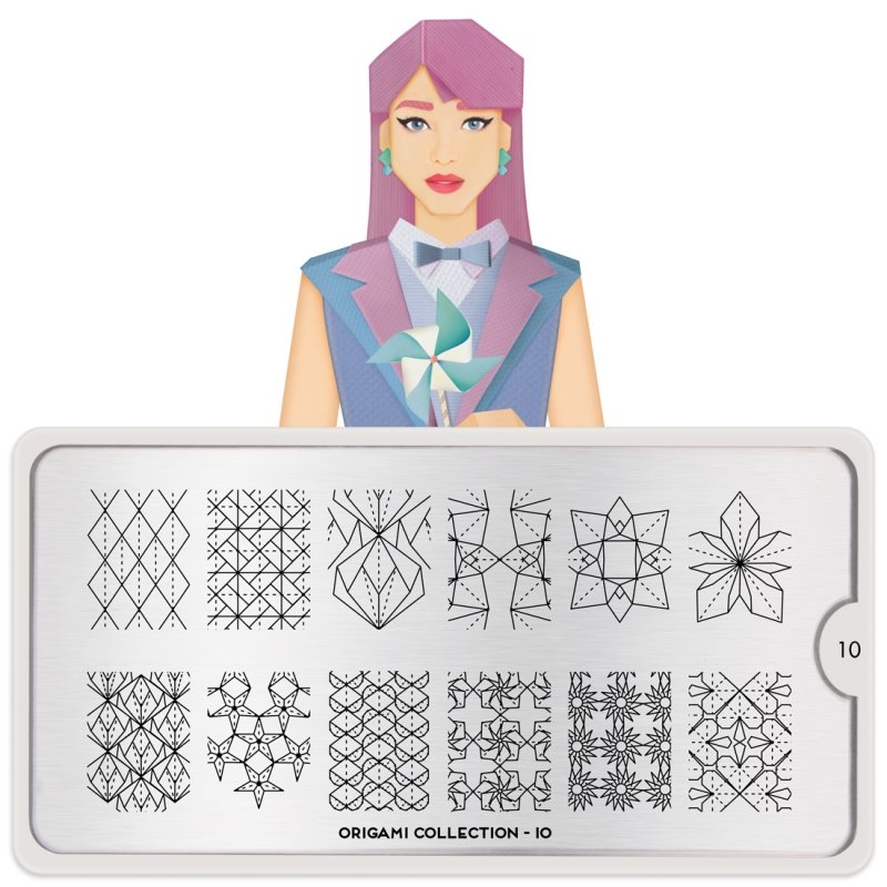 Пластина MoYou London Origami 10Пластины для стемпинга MoYou London<br>Коллекция Origami<br>