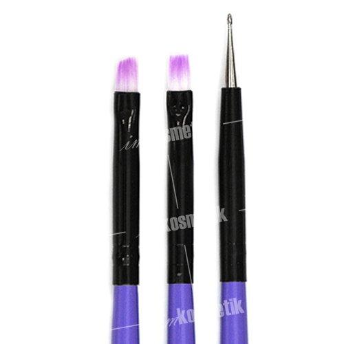 TNL, Набор кистей 3 шт. (фиолетовый)Кисти для дизайна<br>Универсальный набор кистей для нейл-арта.<br>