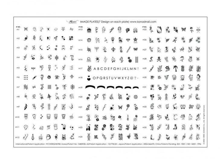 Konad, диск для стемпинга Demo Plate 1 (А4)Диски для стемпинга Konad<br>268 рисунков (диски M1-M36) в супер наборе Demo plate 1.<br>