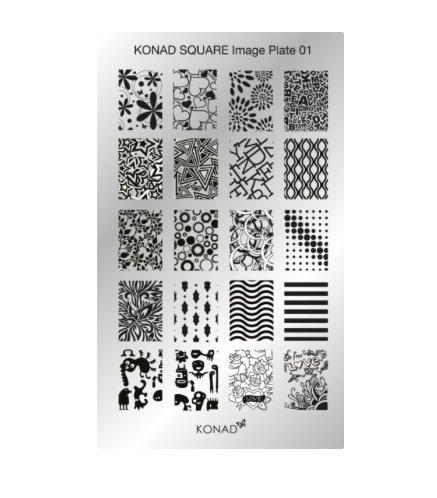 Konad, диск для стемпинга Square Image Plate 1Диски для стемпинга Konad<br>20 видов изображений, с помощью которых вы сможете создать великолепные рисунки на ногтях, которые очень сложно создать вручную.<br>