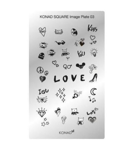 Konad, диск для стемпинга Square Image Plate 3Диски для стемпинга Konad<br>33 вида изображений, с помощью которых вы сможете создать великолепные рисунки на ногтях, которые очень сложно создать вручную.<br>