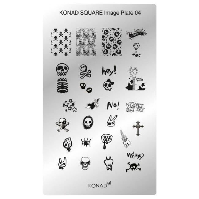 Konad, диск для стемпинга Square Image Plate 4Диски для стемпинга Konad<br>28 видов изображений, с помощью которых вы сможете создать великолепные рисунки на ногтях, которые очень сложно создать вручную.<br>