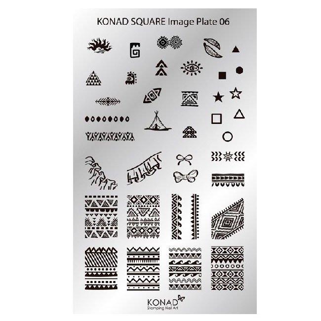 Konad, диск для стемпинга Square Image Plate 6Диски для стемпинга Konad<br>36 видов изображений, с помощью которых вы сможете создать великолепные рисунки на ногтях, которые очень сложно создать вручную.<br>