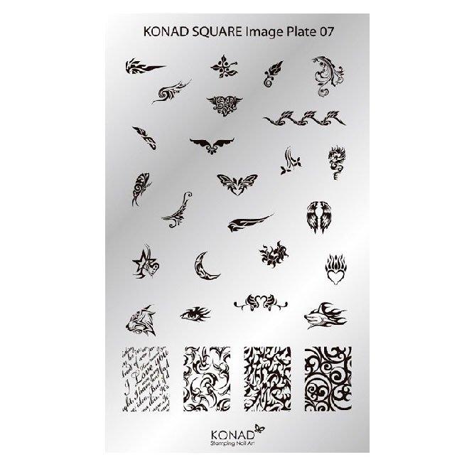 Konad, диск для стемпинга Square Image Plate 7Диски для стемпинга Konad<br>28 видов изображений, с помощью которых вы сможете создать великолепные рисунки на ногтях, которые очень сложно создать вручную.<br>