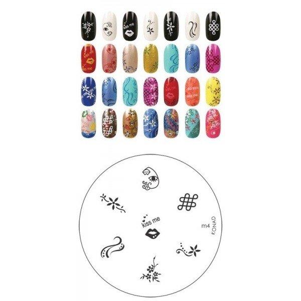 Konad, диск для стемпинга М4Диски для стемпинга Konad<br>7 видов изображений, с помощью которых вы сможете создать великолепные рисунки на ногтях, которые очень сложно создать вручную.<br>