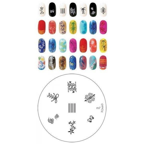 Konad, диск для стемпинга М7Диски для стемпинга Konad<br>7 видов изображений, с помощью которых вы сможете создать великолепные рисунки на ногтях, которые очень сложно создать вручную.<br>