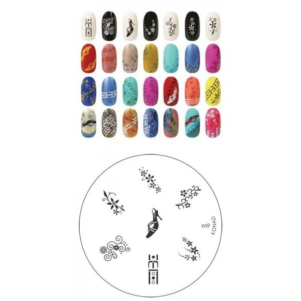 Konad, диск для стемпинга М9Диски для стемпинга Konad<br>7 видов изображений, с помощью которых вы сможете создать великолепные рисунки на ногтях, которые очень сложно создать вручную.<br>