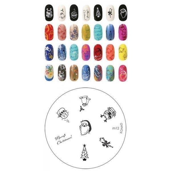 Konad, диск для стемпинга М12 (новогодний)Диски для стемпинга Konad<br>7 видов изображений, с помощью которых вы сможете создать великолепные рисунки на ногтях, которые очень сложно создать вручную.<br>