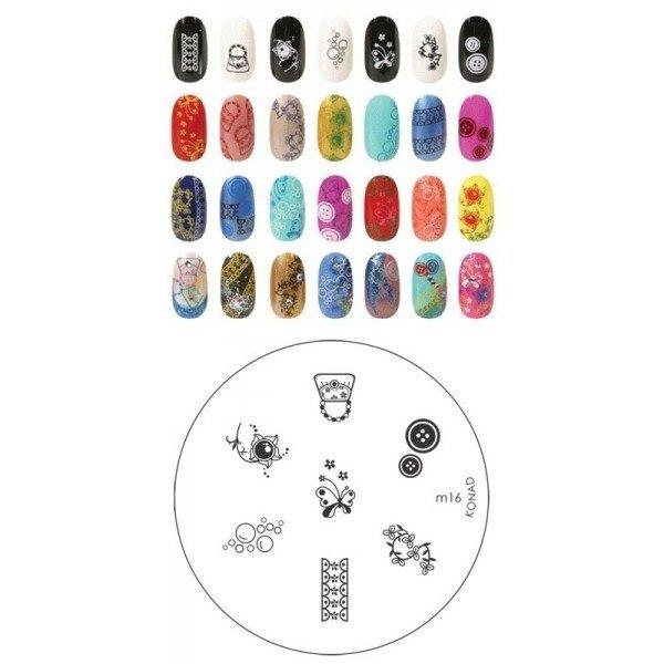 Konad, диск для стемпинга М16Диски для стемпинга Konad<br>7 видов изображений, с помощью которых вы сможете создать великолепные рисунки на ногтях, которые очень сложно создать вручную.<br>