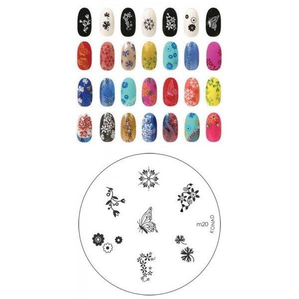 Konad, диск для стемпинга М20Диски для стемпинга Konad<br>7 видов изображений, с помощью которых вы сможете создать великолепные рисунки на ногтях, которые очень сложно создать вручную.<br>