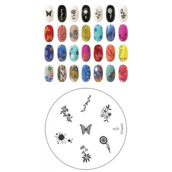 Konad, диск для стемпинга М21Диски для стемпинга Konad<br>7 видов изображений, с помощью которых вы сможете создать великолепные рисунки на ногтях, которые очень сложно создать вручную.<br>
