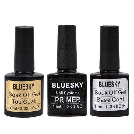 Bluesky Шеллак, Набор Bluesky Шеллак Base Coat, Top Coat и PrimerBluesky 10 мл<br>Набор включает в себя базу (10 мл), топ (10 мл) и праймер (10 мл).<br>