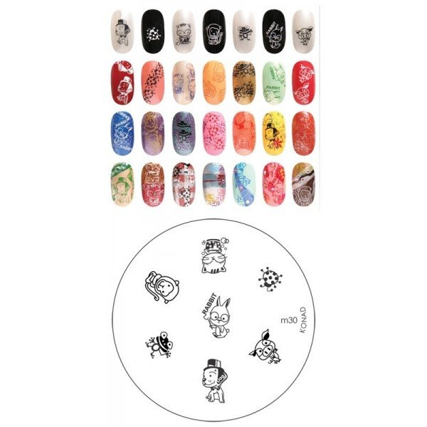 Konad, диск для стемпинга М30Диски для стемпинга Konad<br>7 видов изображений, с помощью которых вы сможете создать великолепные рисунки на ногтях, которые очень сложно создать вручную.<br>