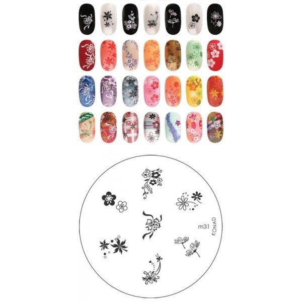 Konad, диск для стемпинга М31Диски для стемпинга Konad<br>7 видов изображений, с помощью которых вы сможете создать великолепные рисунки на ногтях, которые очень сложно создать вручную.<br>