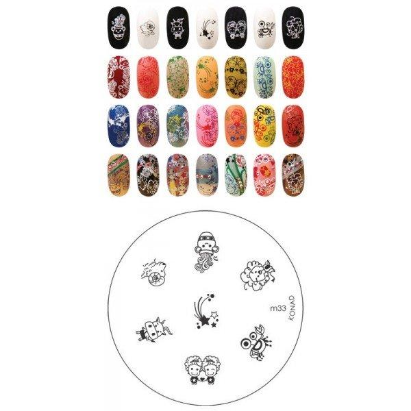 Konad, диск для стемпинга М33Диски для стемпинга Konad<br>7 видов изображений, с помощью которых вы сможете создать великолепные рисунки на ногтях, которые очень сложно создать вручную.<br>