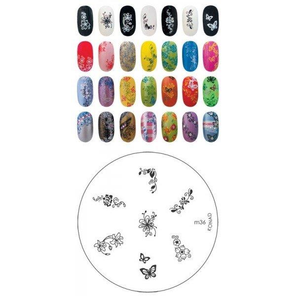 Konad, диск для стемпинга М36Диски для стемпинга Konad<br>7 видов изображений, с помощью которых вы сможете создать великолепные рисунки на ногтях, которые очень сложно создать вручную.<br>