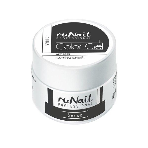 ruNail, УФ-гель цветной (Белый, White), 7,5 гУФ гели RuNail<br>Цветной непрозрачный УФ-гель густой вязкости.<br>
