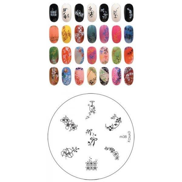 Konad, диск для стемпинга М38Диски для стемпинга Konad<br>7 видов изображений, с помощью которых вы сможете создать великолепные рисунки на ногтях, которые очень сложно создать вручную.<br>