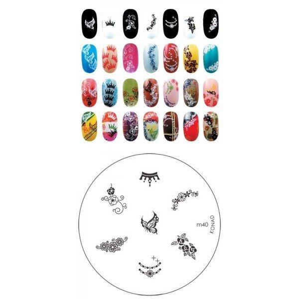 Konad, диск для стемпинга М40Диски для стемпинга Konad<br>7 видов изображений, с помощью которых вы сможете создать великолепные рисунки на ногтях, которые очень сложно создать вручную.<br>