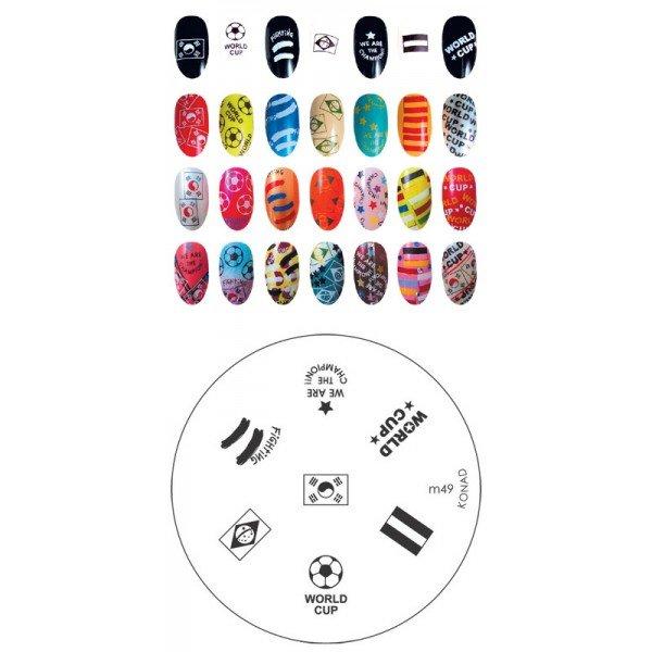 Konad, диск для стемпинга М49Диски для стемпинга Konad<br>7 видов изображений, с помощью которых вы сможете создать великолепные рисунки на ногтях, которые очень сложно создать вручную.<br>
