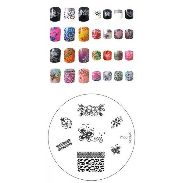 Konad, диск для стемпинга М50Диски для стемпинга Konad<br>7 видов изображений, с помощью которых вы сможете создать великолепные рисунки на ногтях, которые очень сложно создать вручную.<br>