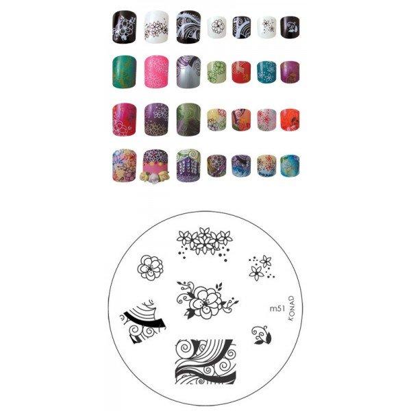 Konad, диск для стемпинга М51Диски для стемпинга Konad<br>7 видов изображений, с помощью которых вы сможете создать великолепные рисунки на ногтях, которые очень сложно создать вручную.<br>