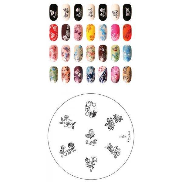Konad, диск для стемпинга М54Диски для стемпинга Konad<br>7 видов изображений, с помощью которых вы сможете создать великолепные рисунки на ногтях, которые очень сложно создать вручную.<br>