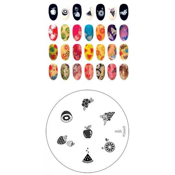Konad, диск для стемпинга М55Диски для стемпинга Konad<br>7 видов изображений, с помощью которых вы сможете создать великолепные рисунки на ногтях, которые очень сложно создать вручную.<br>