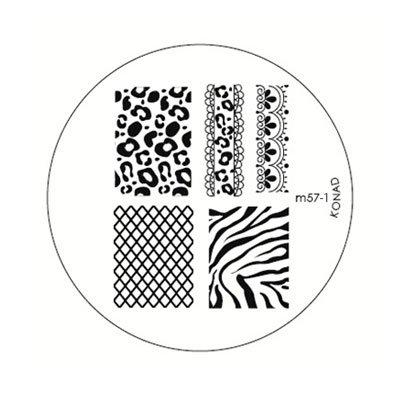 Konad, диск для стемпинга М57-1Диски для стемпинга Konad<br>Увеличенное изображение рисунков диска М 57 (размер рисунков 14*19мм).<br>