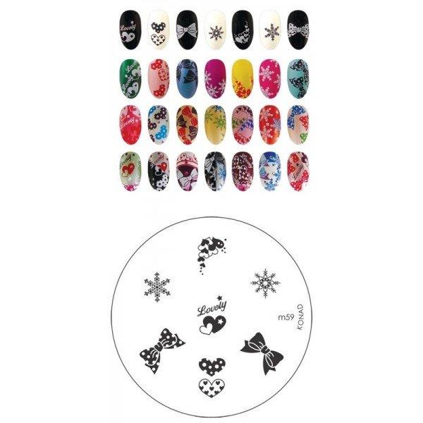 Konad, диск для стемпинга М59Диски для стемпинга Konad<br>7 видов изображений, с помощью которых вы сможете создать великолепные рисунки на ногтях, которые очень сложно создать вручную.<br>