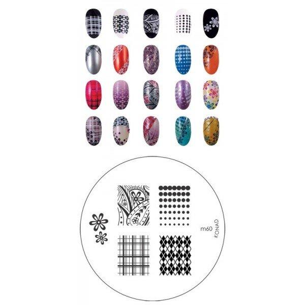 Konad, диск для стемпинга М60Диски для стемпинга Konad<br>5 видов изображений, с помощью которых вы сможете создать великолепные рисунки на ногтях, которые очень сложно создать вручную.<br>