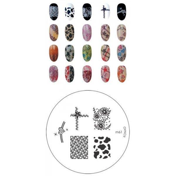 Konad, диск для стемпинга М61Диски для стемпинга Konad<br>5 видов изображений, с помощью которых вы сможете создать великолепные рисунки на ногтях, которые очень сложно создать вручную.<br>