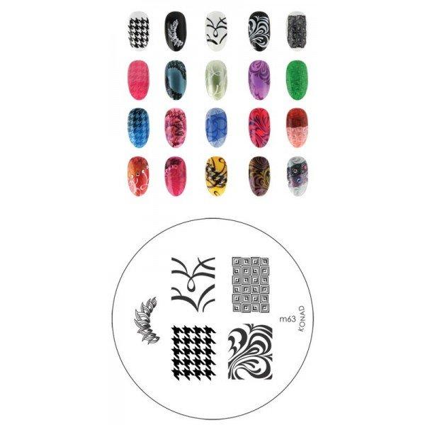 Konad, диск для стемпинга М63Диски для стемпинга Konad<br>5 видов изображений, с помощью которых вы сможете создать великолепные рисунки на ногтях, которые очень сложно создать вручную.<br>