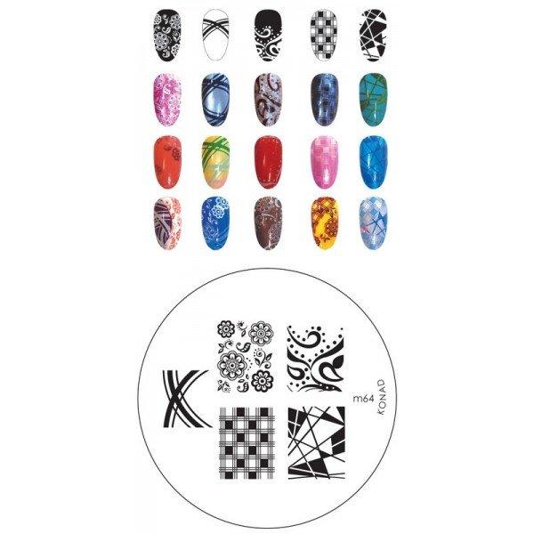 Konad, диск для стемпинга М64Диски для стемпинга Konad<br>5 видов изображений, с помощью которых вы сможете создать великолепные рисунки на ногтях, которые очень сложно создать вручную.<br>