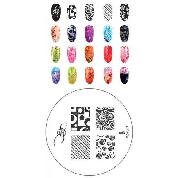 Konad, диск для стемпинга М65Диски для стемпинга Konad<br>5 видов изображений, с помощью которых вы сможете создать великолепные рисунки на ногтях, которые очень сложно создать вручную.<br>