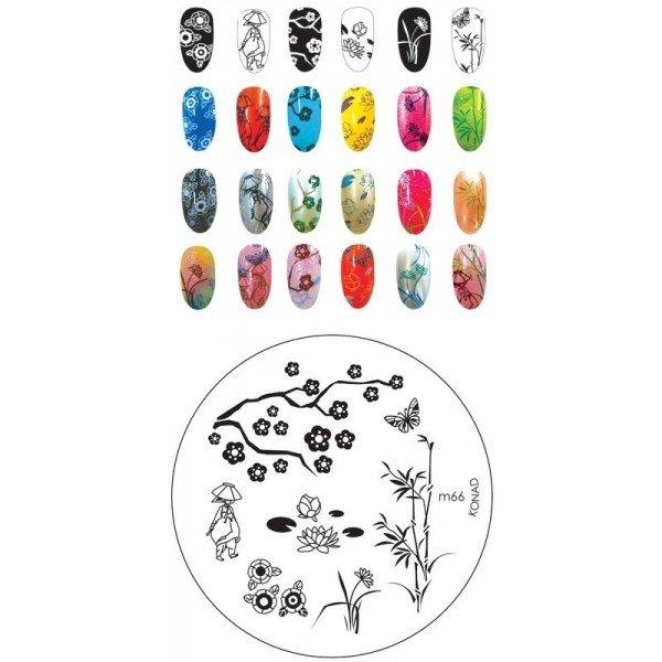 Konad, диск для стемпинга М66Диски для стемпинга Konad<br>7 видов изображений, с помощью которых вы сможете создать великолепные рисунки на ногтях, которые очень сложно создать вручную.<br>