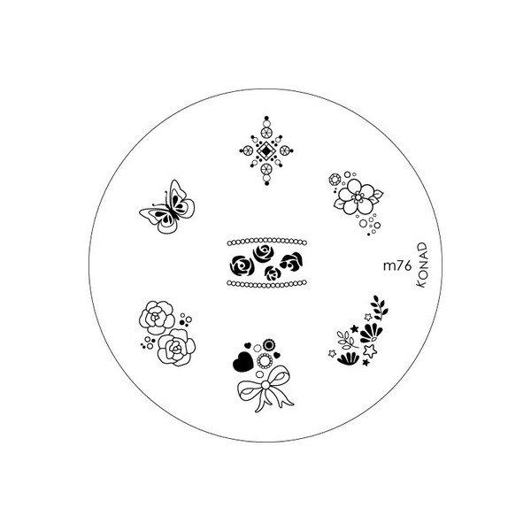 Konad, диск для стемпинга М76Диски для стемпинга Konad<br>7 видов изображений, с помощью которых вы сможете создать великолепные рисунки на ногтях, которые очень сложно создать вручную.<br>