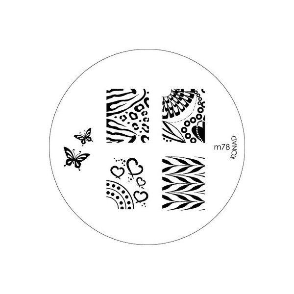Konad, диск для стемпинга М78Диски для стемпинга Konad<br>5 видов изображений, с помощью которых вы сможете создать великолепные рисунки на ногтях, которые очень сложно создать вручную.<br>