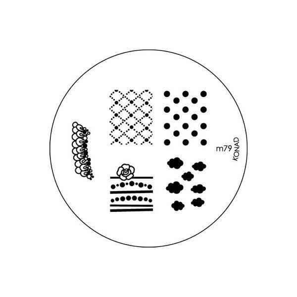 Konad, диск для стемпинга М79Диски для стемпинга Konad<br>5 видов изображений, с помощью которых вы сможете создать великолепные рисунки на ногтях, которые очень сложно создать вручную.<br>